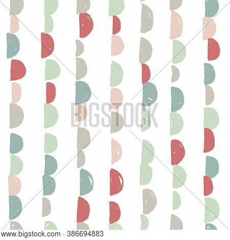 Abstract Cute Colorful Semicircle Moon Design With White Background, Pattern Seamless Backdrop Wallp