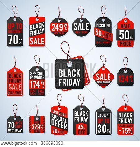 Black Friday Pricing Tags And Promotion Labels With Cheap Prices And Best Offers. Retail Vector Sign