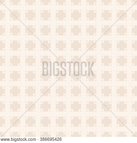 Vector Geometric Seamless Pattern With Small Squares, Grid, Net, Lattice, Floral Shapes, Tiles. Subt