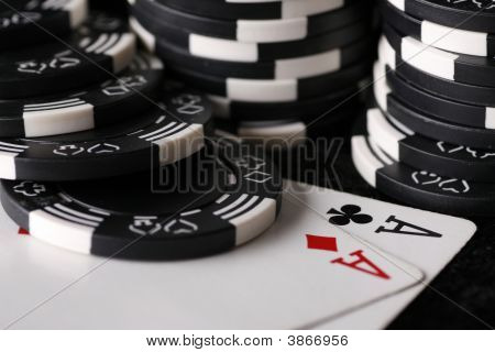 Pair Of Aces And Casino Chips