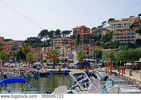 Por Soller, Mallorca, Spain - August 3, 2020: Beautiful View Of Port De Soller, Medierranean Sea.spa