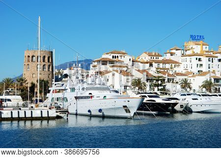 Marbella, Spain - March 23, 2008 - Yachts And Boats Moored In The Harbour, Puerto Banus, Marbella, S