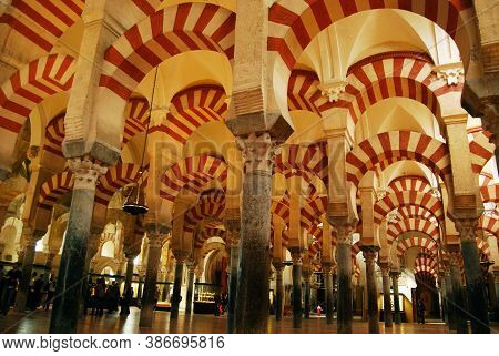 Cordoba, Spain - April 01, 2008 - Arches Within The Prayer Hall Of The Mezquita (mosque), Cordoba, S