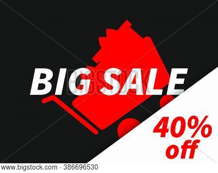 Big Sale 40% Off. Shopping Cart Full Of Boxes On Black Background. Black Friday. Design For Promotio