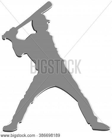 Baseball Logo For Game. Batter Hit A Ball.