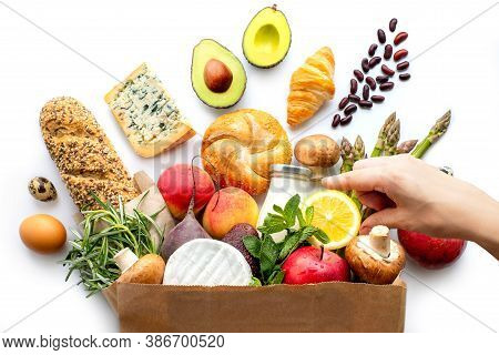 Complete Food Package.paper Food Bag. Delivery From The Supermarket. Delivery Of Products.food Conce