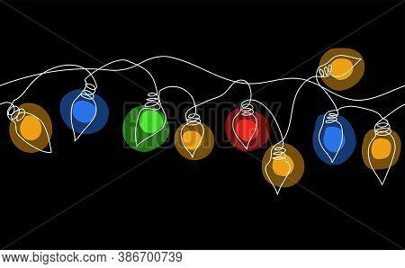 Color Garland String, Festoon. Glowing Christmas Lights, Festive Decorations On Black Background. Ve
