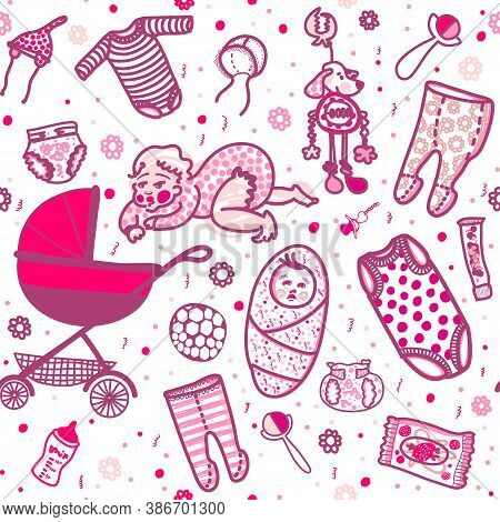 New Born Baby Girl Seamless Pattern In Five Colors. Sliders And Undershirts And Bodysuit And Bonnet
