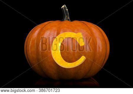 Glowing Letter C Carved In Pumpkin. Halloween Font On Black Background, 3d Rendering