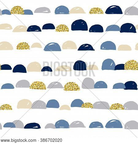 Abstract Cute Colorful Semicircle Moon Design With White Background And Gold Texture, Pattern Seamle