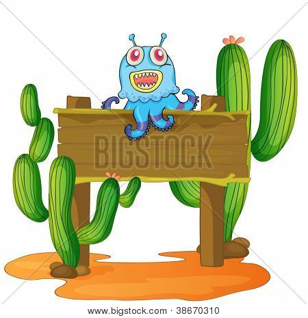 illustration of a board and monster on a white background