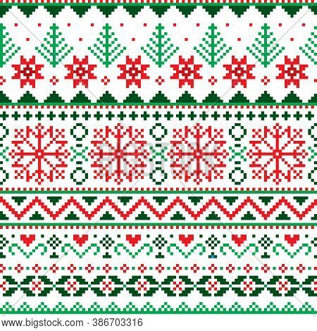 Christmas Fair Isle Style Traditional Knitwear Vector Seamless Pattern With Snowflakes, Trees And He