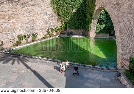 Palma De Mallorca, Balearic Islands/spain; September 2020: Hort Del Rei. Pond And Gardens Surrounded