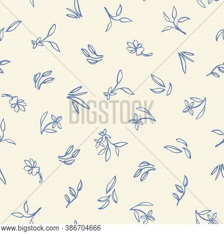 Retro Ditsy Floral All Over Pattern. Vintage Kitchen Folk Art Floral Design. Line Art Florals On Cre