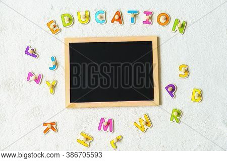 School Board. Blank Board Place For Text.preparing For School. Education For The Youngest. Preschool
