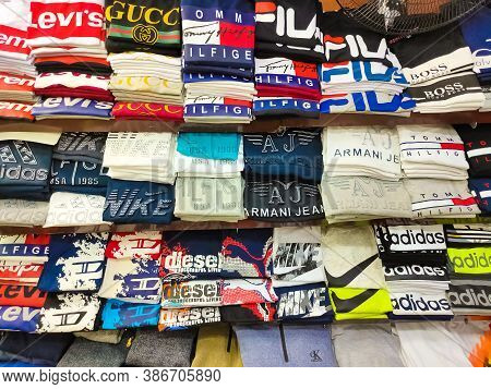 Sharm El Sheikh, Egypt - September 15, 2020: The Local T Shirt Adidas, Nike In Egyptian Souvenir Sho
