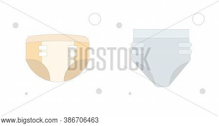 Diaper Glyph Icon, Baby And Nappy Colorful Vector Flat Illustration On White Background. Diaper Flat