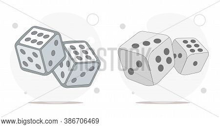 Dice Cubes Vector Flat Illustration On White Background. Playing Dices