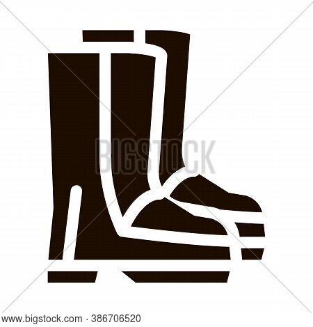 Waterproof Material Gumboots Shoes Glyph Icon. Waterproof Material Felt Boots, Roller Painter Equipm