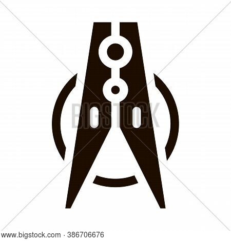 Laundry Service Clothes Peg Vector Icon. Attach Wet Laundry To Clothesline For Dry, Washing Clothes