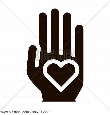 Volunteers Support Hand Love Vector Icon. Volunteers Support, Charitable Organizations, Two Hand Kee