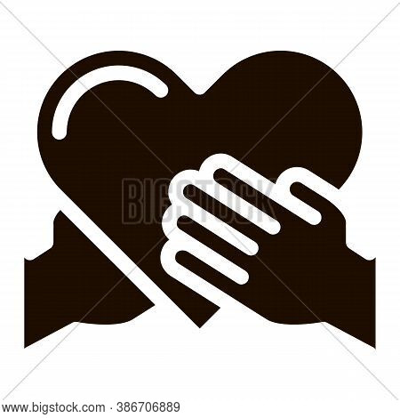 Volunteers Support Hand Hold Vector Icon. Volunteers Support, Charitable Organizations, Two Arm Keep
