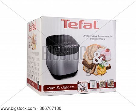 Zaporizhzhya, Ukraine - 07 September 2020: Tefal Bread Machine In A Box On A White Background.