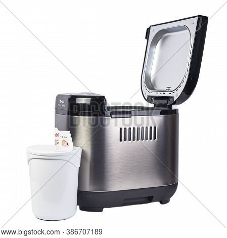 Zaporizhzhya, Ukraine - 07 September 2020: Tefal Bread Machine On A White Background.
