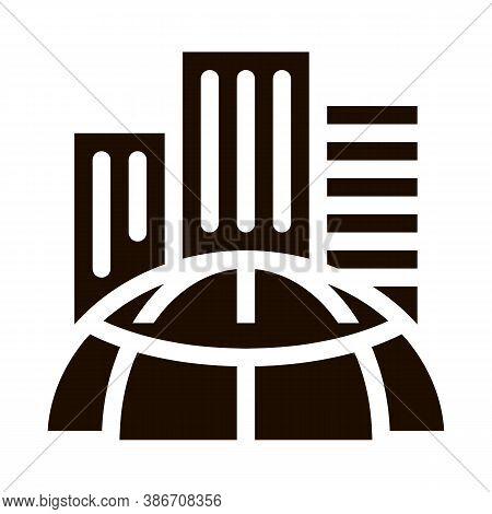 Skyscraper Earth Problem Vector Icon. Big City Town Building Environmental Problem, Industrial Pollu