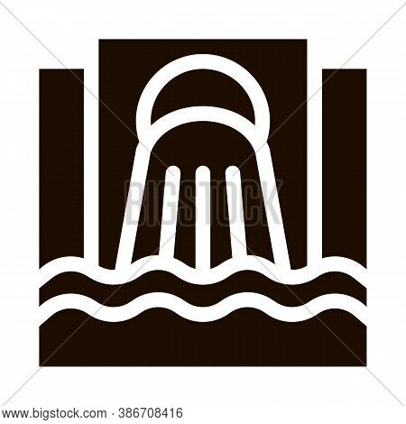 Waste Outpouring From Spout Vector Icon. Industry Waste In Ocean Sea River Environmental Problem, In