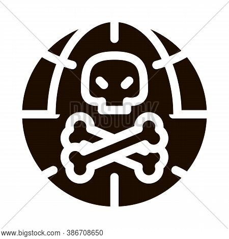 Raw Head And Bloody Bones Vector Icon. Skull With Bones And Planet Earth Environmental Pollution, Ch