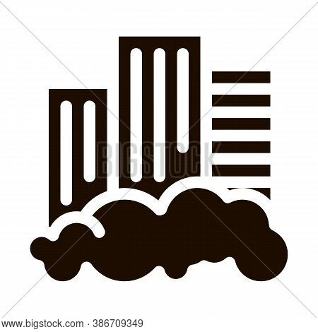Building Skyscraper And Smog Vector Icon. City Town Environmental Pollution, Chemical, Industrial Sm