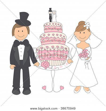 Wedding couple and wedding cake