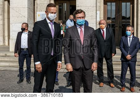 Uzhgorod, Ukraine - September 23, 2020: Ministers Of Foreign Affairs Of Hungary Peter Szijjarto (lef