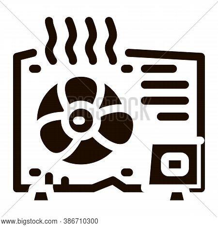 Broken Conditioner System Vector Icon. Overheat Conditioner Technology Equipment, Superheat Outdoor
