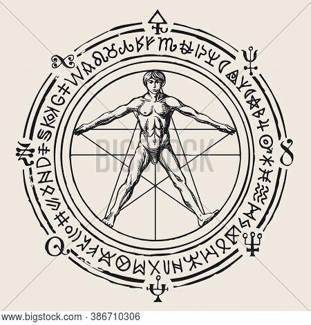 Illustration With A Human Figure Like Vitruvian Man By Leonardo Da Vinci, Esoteric And Magical Symbo