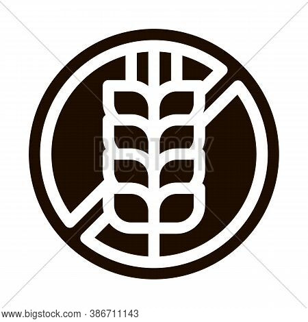 Allergen Free Sign Wheat Vector Icon. Allergen Free Gluten Agricultural Food Pictogram. Crossed Out