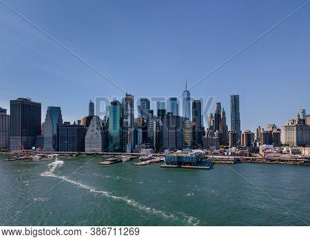 Wonderful Aerial View Of New York City Manhattan Midtown Skyline Panorama With Historical Landmark S