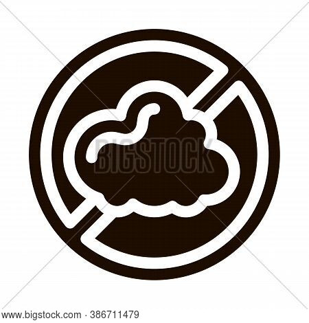 Allergen Free Sign Dust Vector Icon. Allergen Free Pictogram. Crossed Out Mark Cinder Cloud Healthy