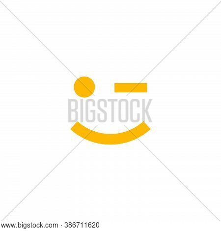 Emoticon Logo Of A Face And One Eye Blinking
