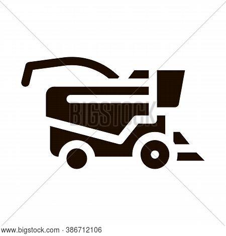 Farming Harvester Vehicle Vector Icon. Agricultural Tractor Harvester For Harvesting Working On Farm