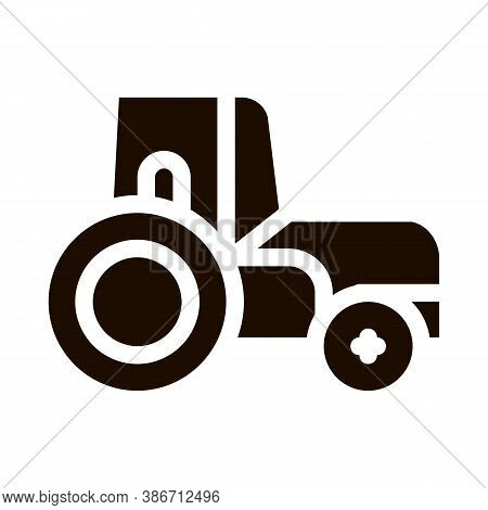 Caterpillar Tractor Vehicle Vector Icon. Agricultural Transport Tractor, Harvesting Machinery Pictog