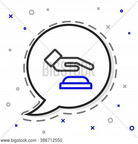 Line Palm Print Recognition Icon Isolated On White Background. Biometric Hand Scan. Fingerprint Iden