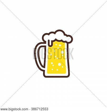 Logo Of A Big Glass Of Beer With Froth On The Rim Of The Glass