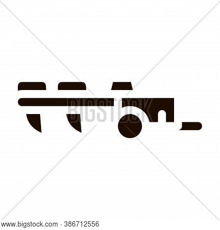 Agricultural Cultivator Vector Icon. Tractor Cultivator Hindi Carriage. Machinery Transport Pictogra