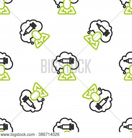 Line Addiction To The Drug Icon Isolated Seamless Pattern On White Background. Heroin, Narcotic, Add