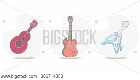 Guitar Vector Flat Illustration On White Background, Electric Guitar, Classical Spanish Guitar, Acou