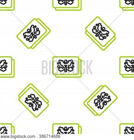 Line Rorschach Test Icon Isolated Seamless Pattern On White Background. Psycho Diagnostic Inkblot Te