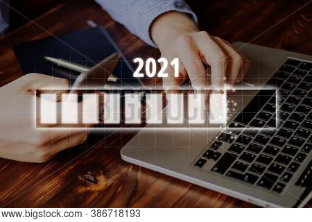 Business Concept Of The New Year 2021 For New Purposes.