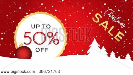 Red Christmas Background. Sale Banner Design For Your Promotion. Holidays Sale Banner Template. Vect